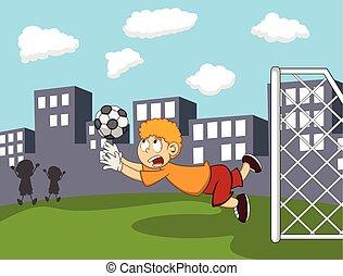 Goalkeeper catch the ball