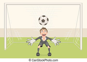 Goalkeeper catches soccer ball