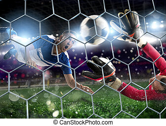 Goalkeeper catches the ball in the stadium during a football game.