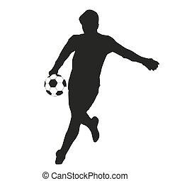 goalkeeper., goalie, futebol, silueta, vetorial