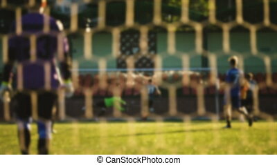 Goalkeeper hits the ball during a soccer game, blurred -...