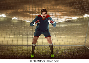 Goalkeeper in front of goalpost