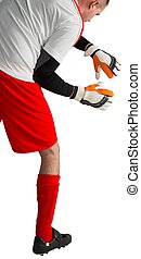 Goalkeeper in red and white ready to catch on white...