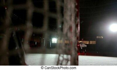 goalkeeper., jeu, prend, shootout., joueurs, pénalité, ...
