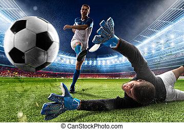 Goalkeeper kicks the ball in the stadium