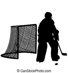 goalkeeper., speler, silhouettes, hockey