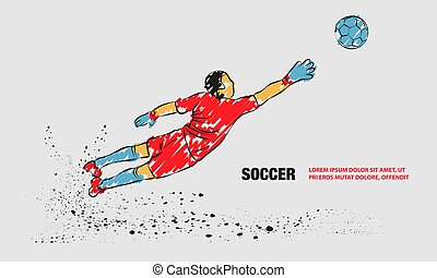 Goalkeeper try to catch the ball. Vector outline of soccer goalkeeper with scribble doodles.