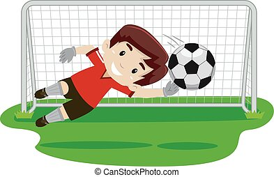 Goalkeeper trying catching the ball - Vector illustration of...