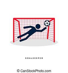 goalkeeper., voetbal, figuren, stok, voetbal, of
