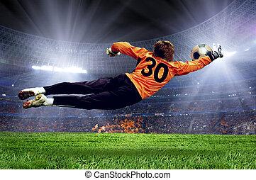 goalman, campo, fútbol, estadio
