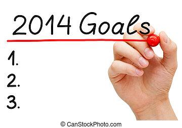 Goals 2014 - Hand underlining 2014 Goals with red marker...