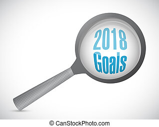 goals 2018 magnify glass sign illustration