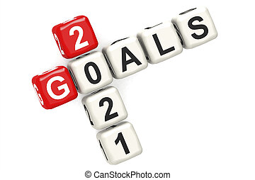 Goals 2021 word concept on cube block isolated
