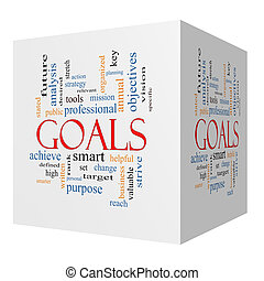 Goals 3D cube Word Cloud Concept with great terms such as...