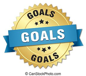 goals 3d gold badge with blue ribbon