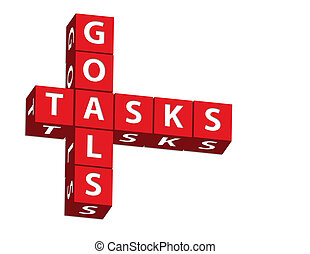 Goals and Tasks - Red blocks spelling goals and tasks on a...