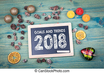 goals and trends 2018. Christmas and holiday background. Ornaments and decor on a wooden table