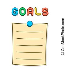 Goals blank list with thumb tack and magnet letter