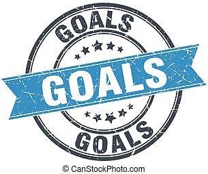 goals blue round grunge vintage ribbon stamp