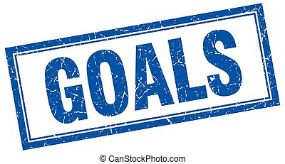 goals blue square grunge stamp on white