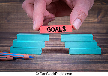 Goals Business Concept With Wooden Blocks