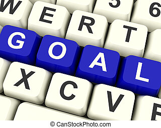 Goals Computer Keys Showing Objectives Hope And Future -...