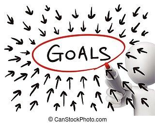 goals concept drawn by 3d man