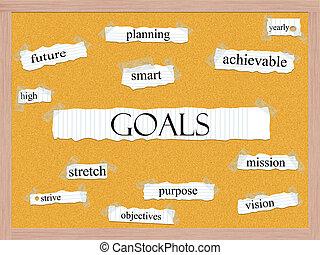 Goals Corkboard Word Concept