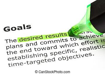 'goals', 'desired, results', debajo