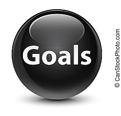 Goals glassy black round button