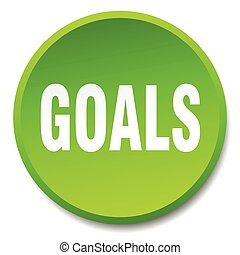 goals green round flat isolated push button