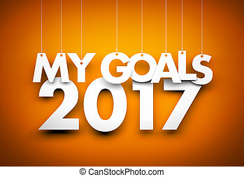Goals in new year 2017 - word hanging on orange background. 3d illustration