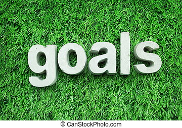 Goals made from concrete alphabet top view on green grass