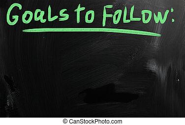 """""""goals"""", manuscrit, à, blanc, craie, sur, a, tableau noir"""