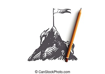 Goals, mountain, challenge, business, peak concept. Hand drawn isolated vector.