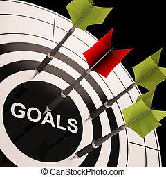 Goals On Dartboard Shows Aspired Objectives And Desired...
