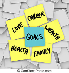 Goals on Sticky Notes Health Wealth Career Love - Many...