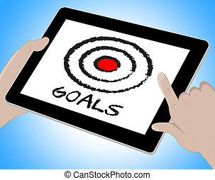 Goals Online Shows Desire Objectives 3d Illustration