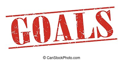 goals red grunge vintage stamp isolated on white background