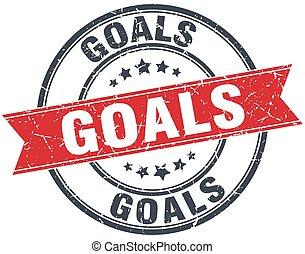 goals red round grunge vintage ribbon stamp