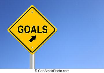 Goals Road Sign