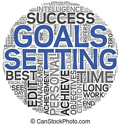 Goals setting concept in tag cloud