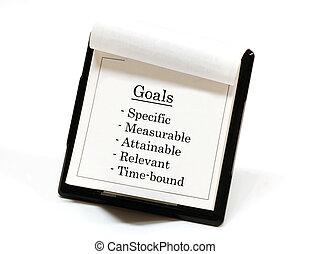 Goals - Smart goals listed on a desktop calendar