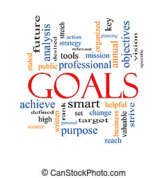 Goals Word Cloud Concept with great terms such as planning,...