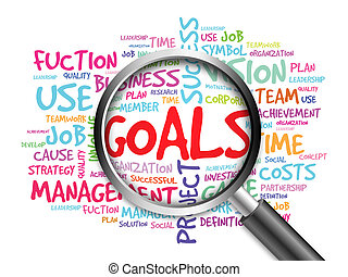 GOALS word cloud with magnifying glass