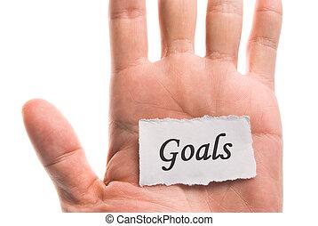 Goals word in hand