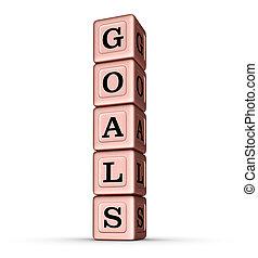 Goals Word Sign. Vertical Stack of Rose Gold Metallic Toy Blocks.