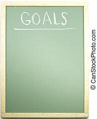Goals written on a blackboard