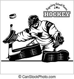 goaltender., hockey, illustratie, liggen