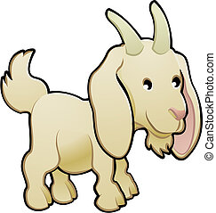 goat, イラスト, かわいい, ベクトル, 家畜